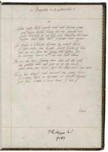 "Facsimile of Sonnet 1 ""When night's dark mantle..."" from La Trobe."