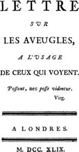 Lettre sur les Aveugles (Letter on the Blind).