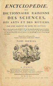 Encyclopedie de D'Alembert et Diderot Premiere Page.
