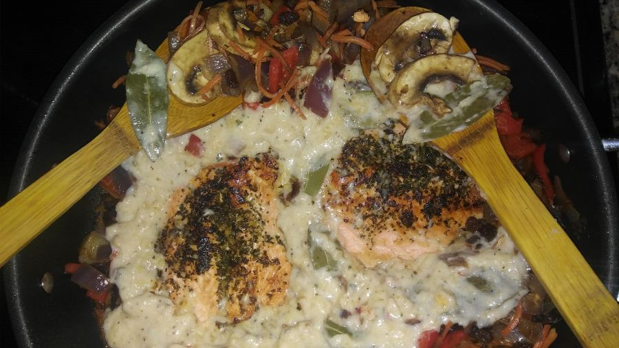 Salmon with four cheese Bechamel sauce
