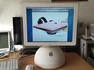 iMac G4、Safariでアップルのページを表示したが、レイアウト崩れが起きている様子