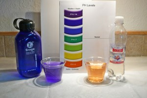 Highly Acidic Anti-Oxidant Bottled water on right