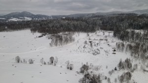 Sokoliki mountains from drone in winter