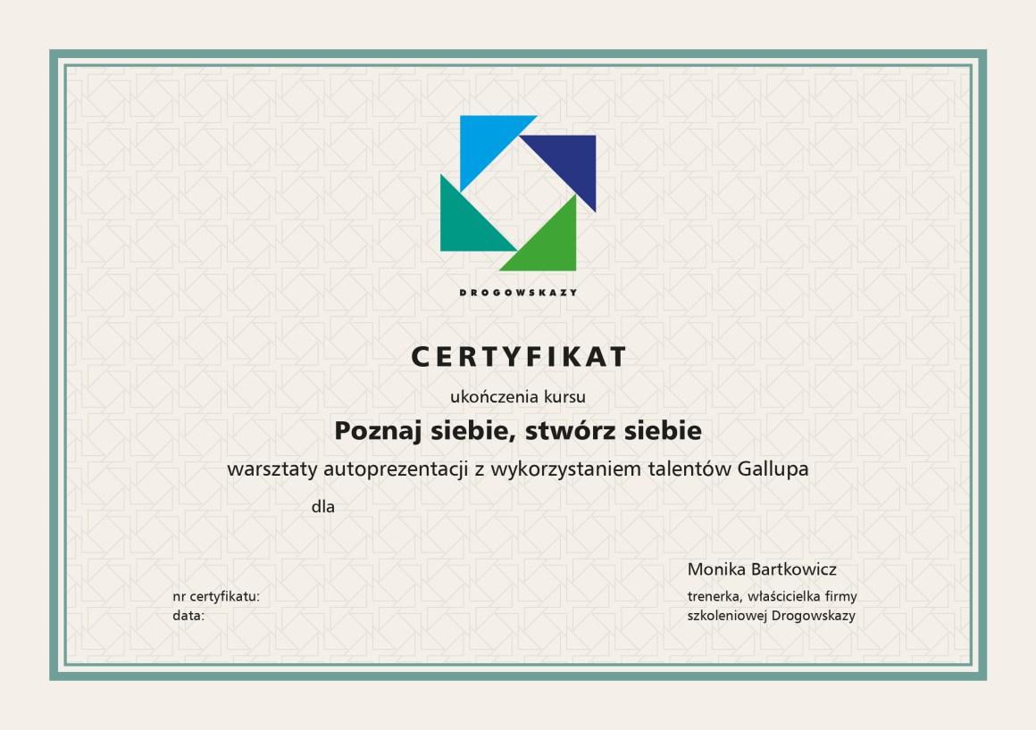 zdjęcie przedstawia projekt certyfikatu, je na nim niebiesko zielony logotyp firmy Drogowskazy oraz tekst. Wszystko jest w zielonej ramce.