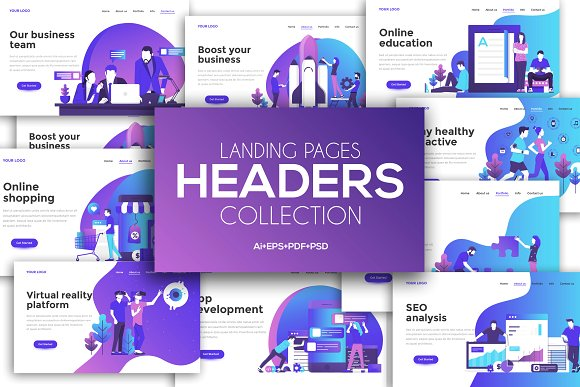 vector designs for landing pages