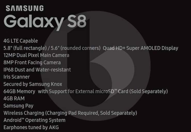 Samsung Galaxy S8 Full Specs Leaked