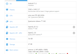 Moto Z2 GFXBench Specifications