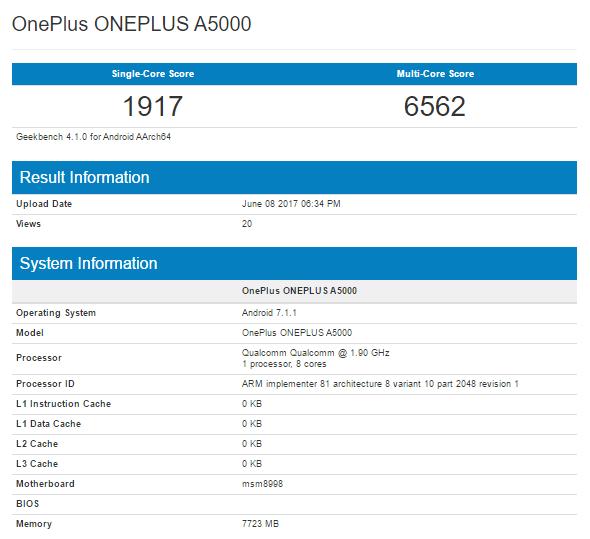 OnePlus 5 Geekbench Scores