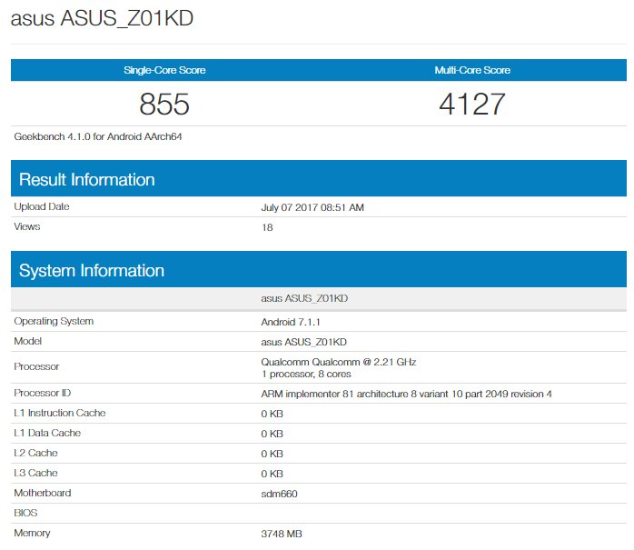 Asus Zenfone 4 Geekbench