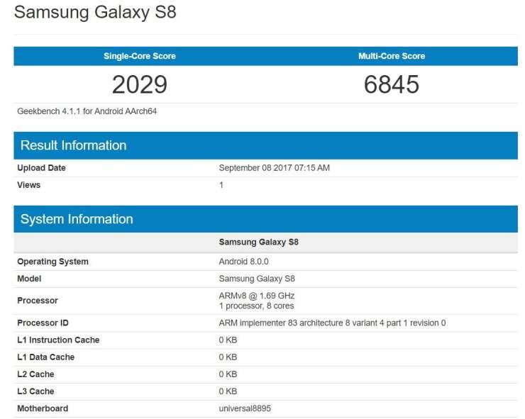 Samsung Galaxy S8 Android O