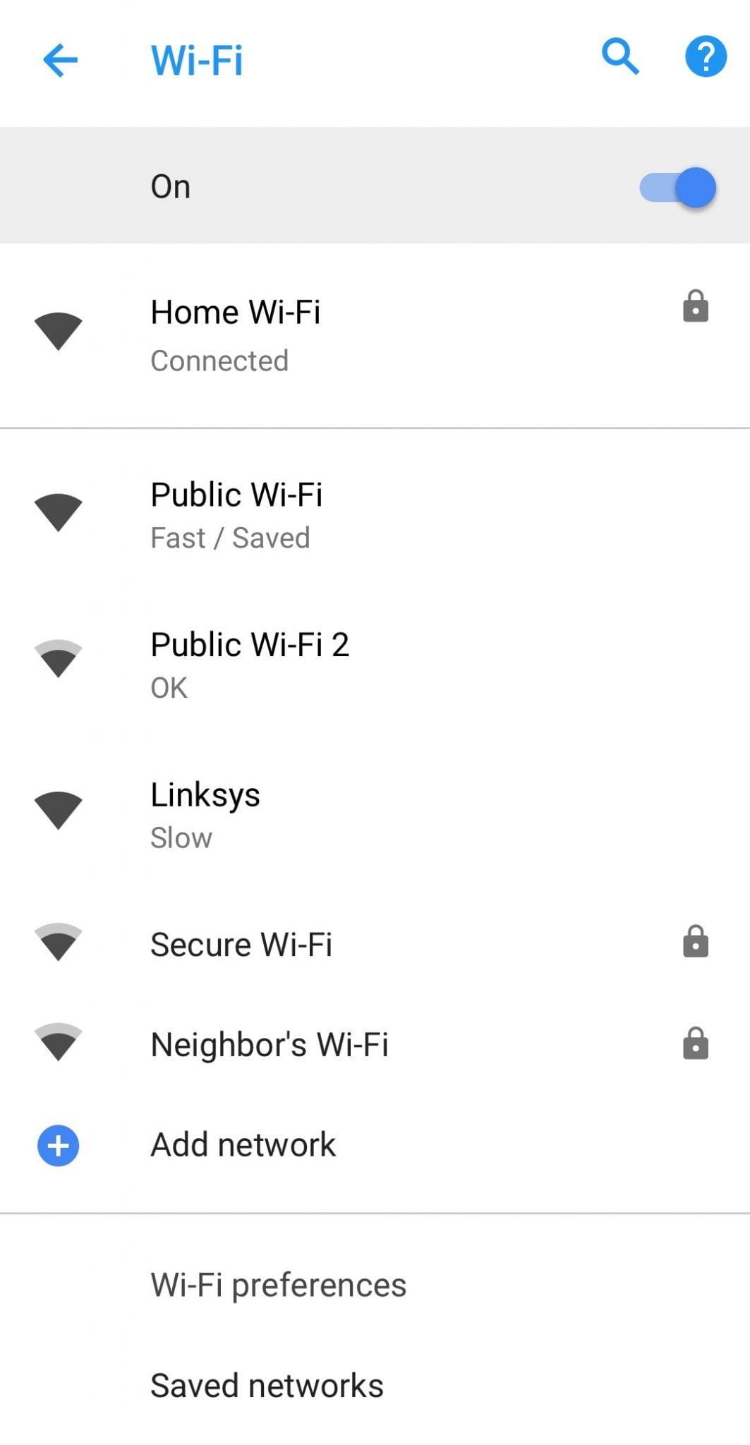 Android 8.1 Oreo Wifi