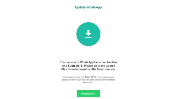 WhatsApp Obsolete Bug