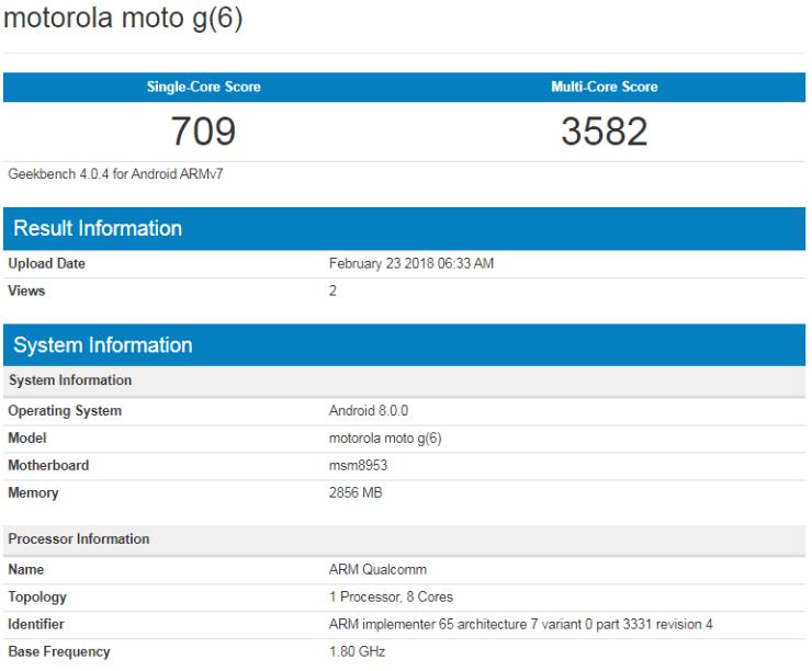 Moto G6 on Geekbench