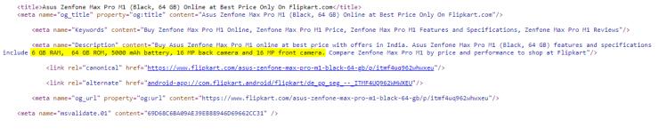 Asus Zenfone Max Pro M1 6GB RAM Flipkart