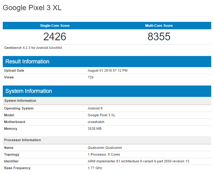 Google Pixel 3 XL on Geekbench