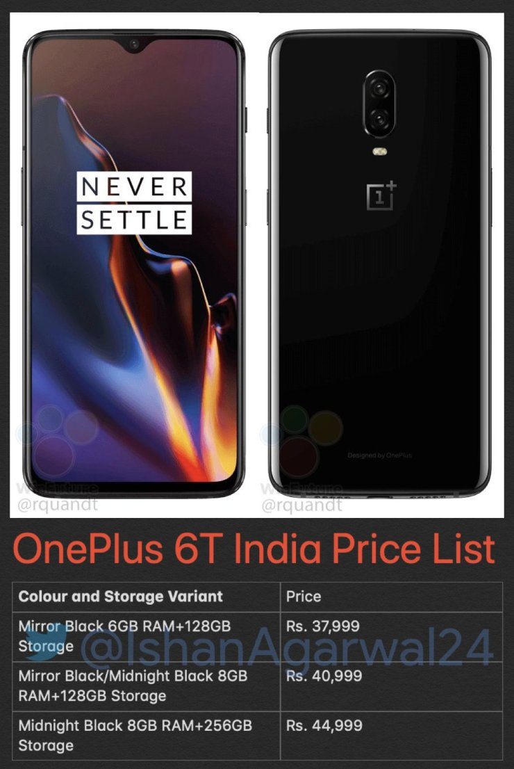 OnePlus 6T Pricing for India leaks, will start at Rs 37,999 1