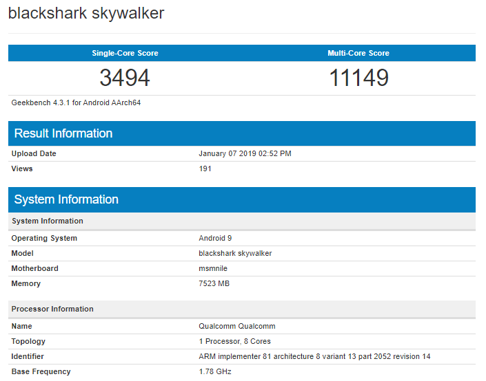 BlackShark Skywalker on Geekbench