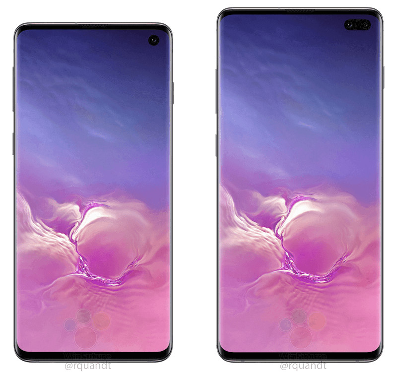 Samsung Galaxy S10 and S10+ from front