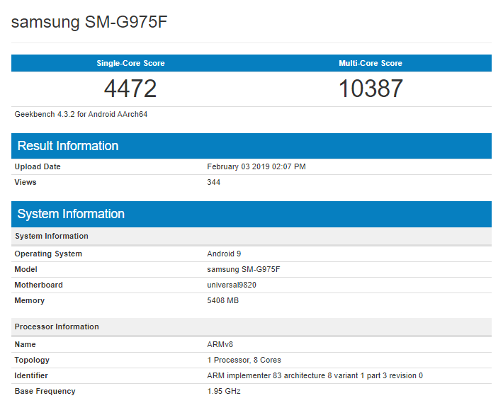 Latest Exynos 9820 Geekbench score