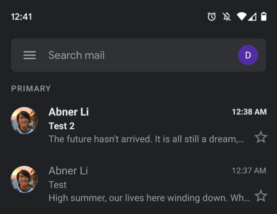 Dark Mode on Gmail App Android