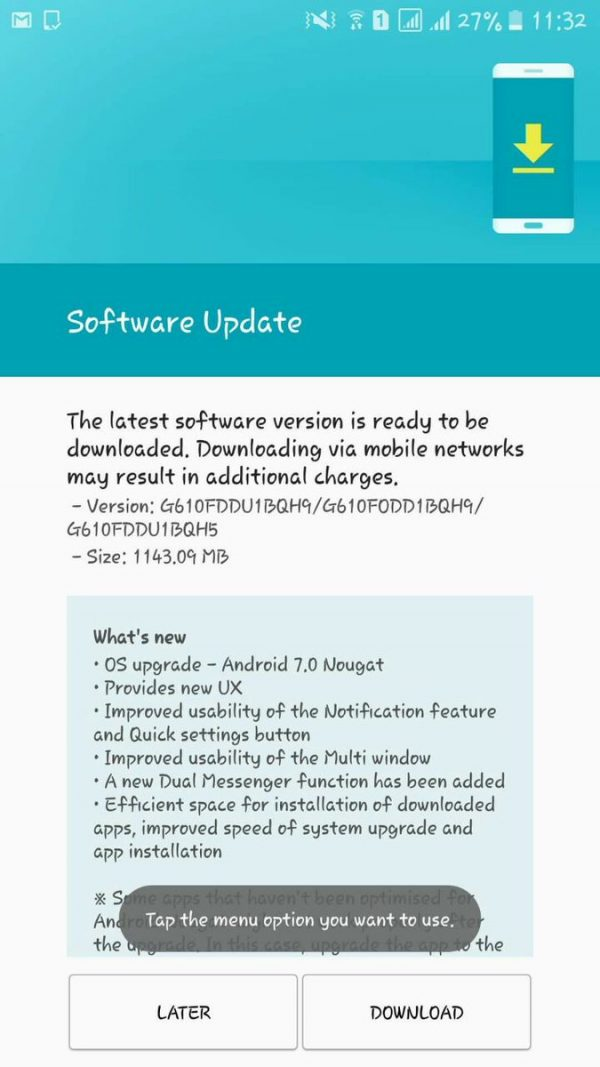android 7.0 nougat download for samsung j7