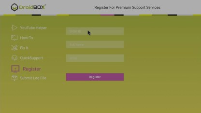 DroidBOX® Control Centre Registering your product
