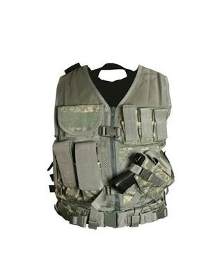 Gilet tactique medium avec holster et pochettes taille XL (camo américain)