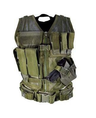 Gilet tactique avec holster et pochettes (kaki)