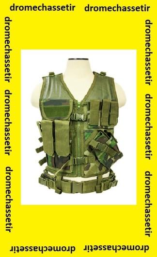 Gilet tactique avec holster et pochettes