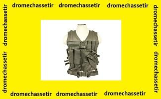 Gilet tactique avec holster et pochettes taille L (gris anthracite )