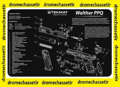 Tapis de nettoyage neoprene decor pistolet Walther PPQ