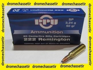 Boite 20 cartouches Partizan, 222 remington, 50 grains soft point, A032