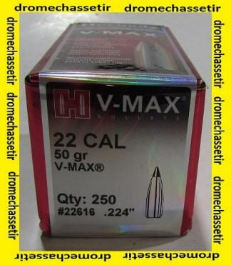 BOITE DE 250 OGIVES HORNADY 22 .224 50GR V-MAX REF 22616