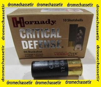 BOITE DE 10 CARTOUCHES HORNADY CAL 12 CHEVROTINES CRITICAL DEFENSE 86240