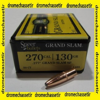 Boite 50 ogives Speer cal 277 en130 grains Grand Slam Soft Point, ref 1465