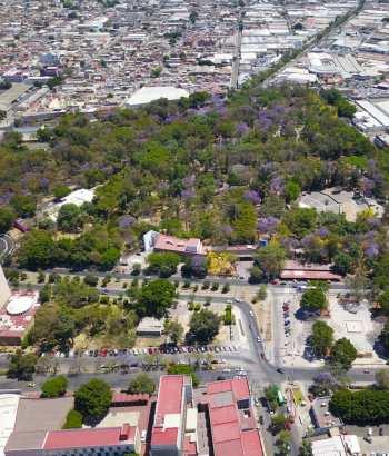 Vista aérea del parque Agua Azul en Guadalajara