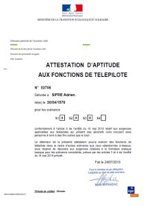 Attestation de pilote de drone Adrien Sifre