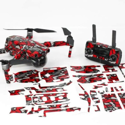Red Grey Rock Drone Skin Wrap DJI Mavic 2 with Remote and Print Out
