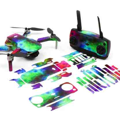 Rainbow Clouds Drone Skin Wrap Stickers for DJI Mavic Mini Front View with Print Out