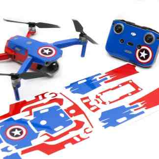 Captain America Drone Skin Wrap Decal Stickers for DJI Mavic Air 2 Applied to Drone and Remote Front View with Print Out