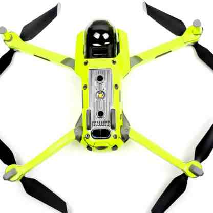 Neon Fluoro Yellow Drone Skin Wrap Decal Stickers for DJI Mavic Air 2 Applied to Drone and Remote UnderCarriage View