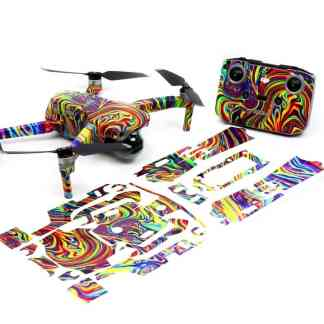 Psychedelic Strikes Drone Skin Wrap Decal Stickers for DJI Mavic Air 2 Applied to Drone and Remote with Print Out