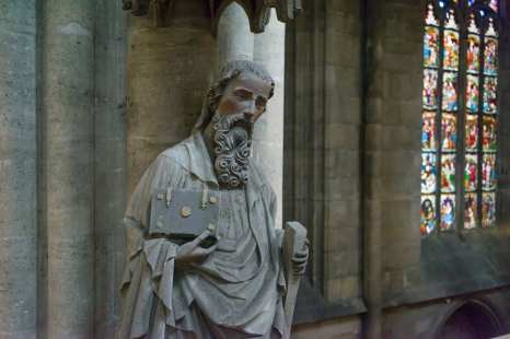 The Intel Falcon 8+ commercial inspection drone inspects a historic sculpture of St. Sixtus inside the Halberstad Cathedral in Saxony-Anhalt, Germany. (Credit: Intel Corporation)