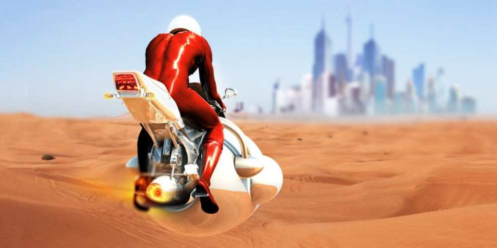 The future of travel: flying motorbike