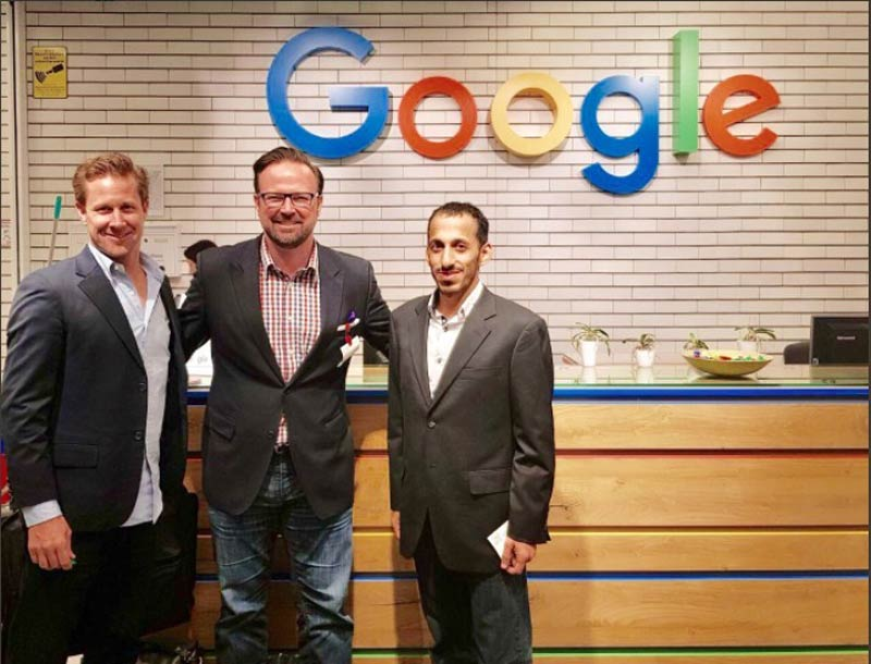 URS Labs Team gathered to pitch their unmanned ground vehicle logistics at Google offices in Munich this month. From left to right, Mr. Urs Eiselin, COO & Co-Founder, URS Labs, Mr. Matthew Cochran, CEO & Co-Founder, URS Labs and Mohammad Al-Shamsi, Head of Robotics at URS Labs.
