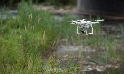 A quadcopter is deployed to collect visual and thermal imagery along Onondaga Creek in Syracuse, N.Y. |