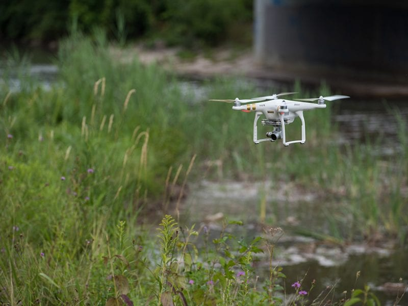 A quadcopter is deployed to collect visual and thermal imagery along Onondaga Creek in Syracuse, N.Y.  