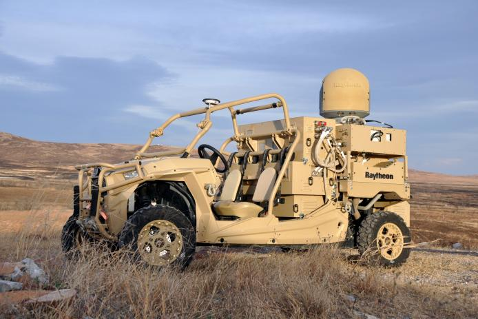 The Raytheon dune buggy carries the HEL weapon system provides military members with counter-UAV capabilities and a virtually unlimited magazine | U.S. Army