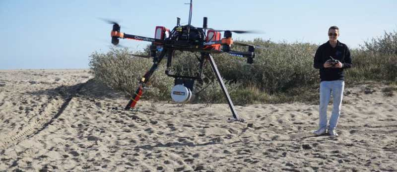 The UAV equipped with the Lidar system.