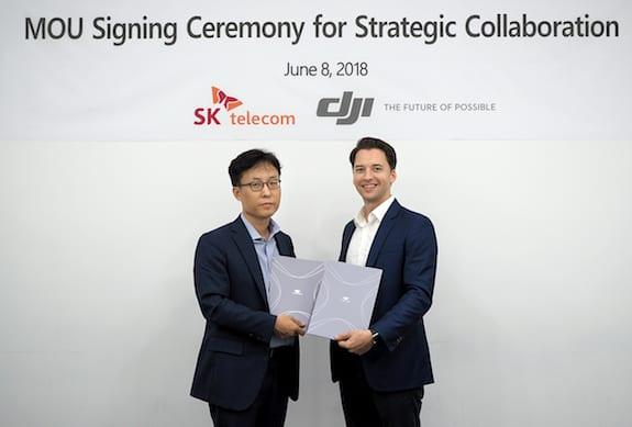 Choi Nak-hoon, head of SK Telecom IoT business support group, and Yoon Gasparick, head of DJI Global Enterprise Partnership   SK Telecom